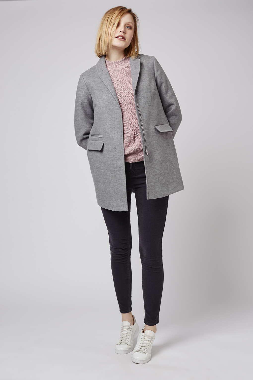 Topshop Petite Slim Pocket Coat in Gray | Lyst