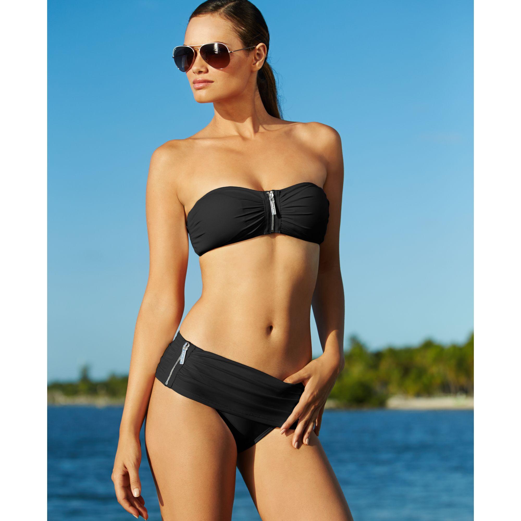 f1e7a647f6200 Lyst - Michael Kors Michael Exposedzipper Bandeau Bikini Top in Black