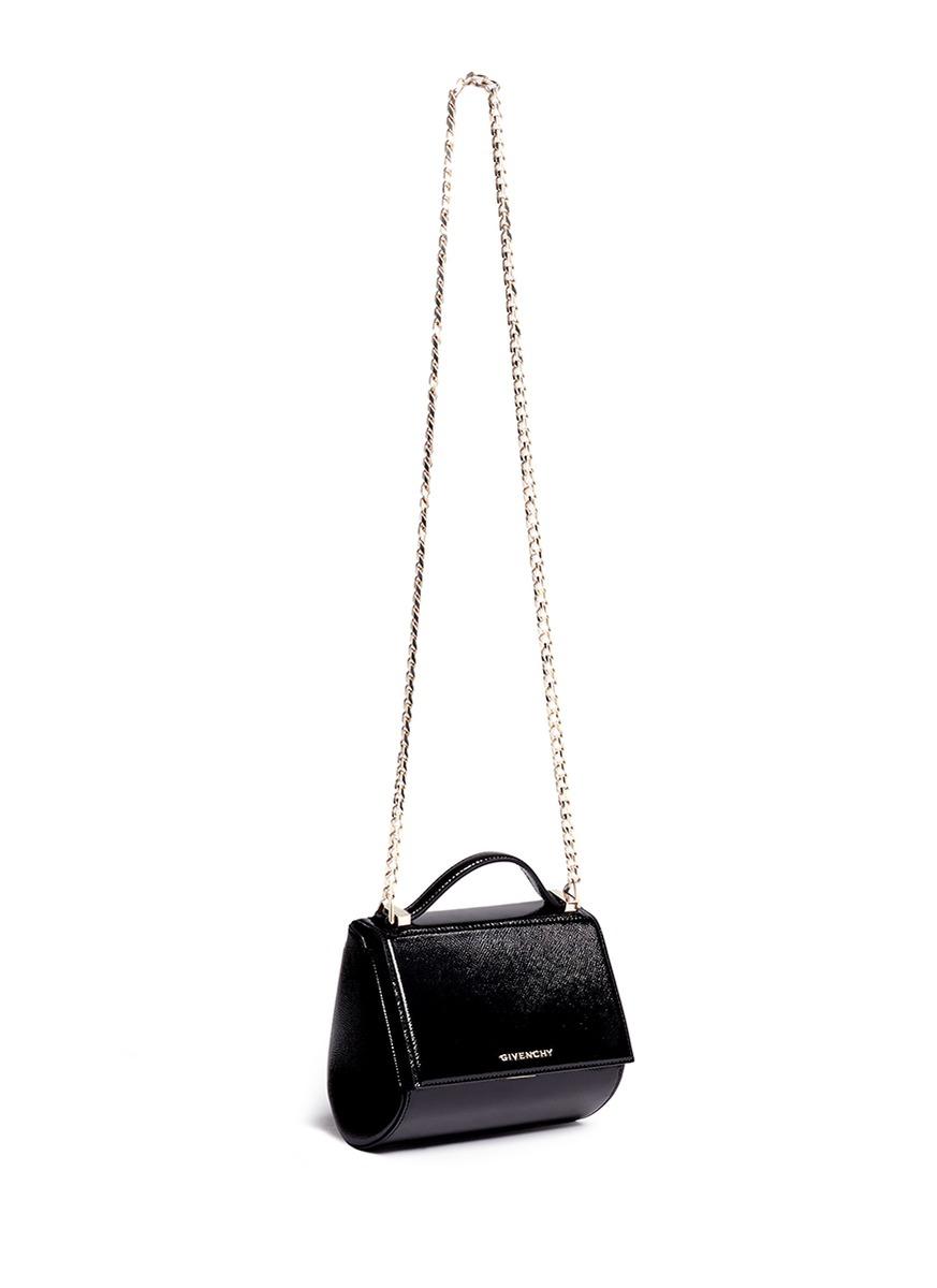 Lyst - Givenchy  pandora Box  Mini Saffiano Patent Leather Chain Bag ... 4e61cb3535584