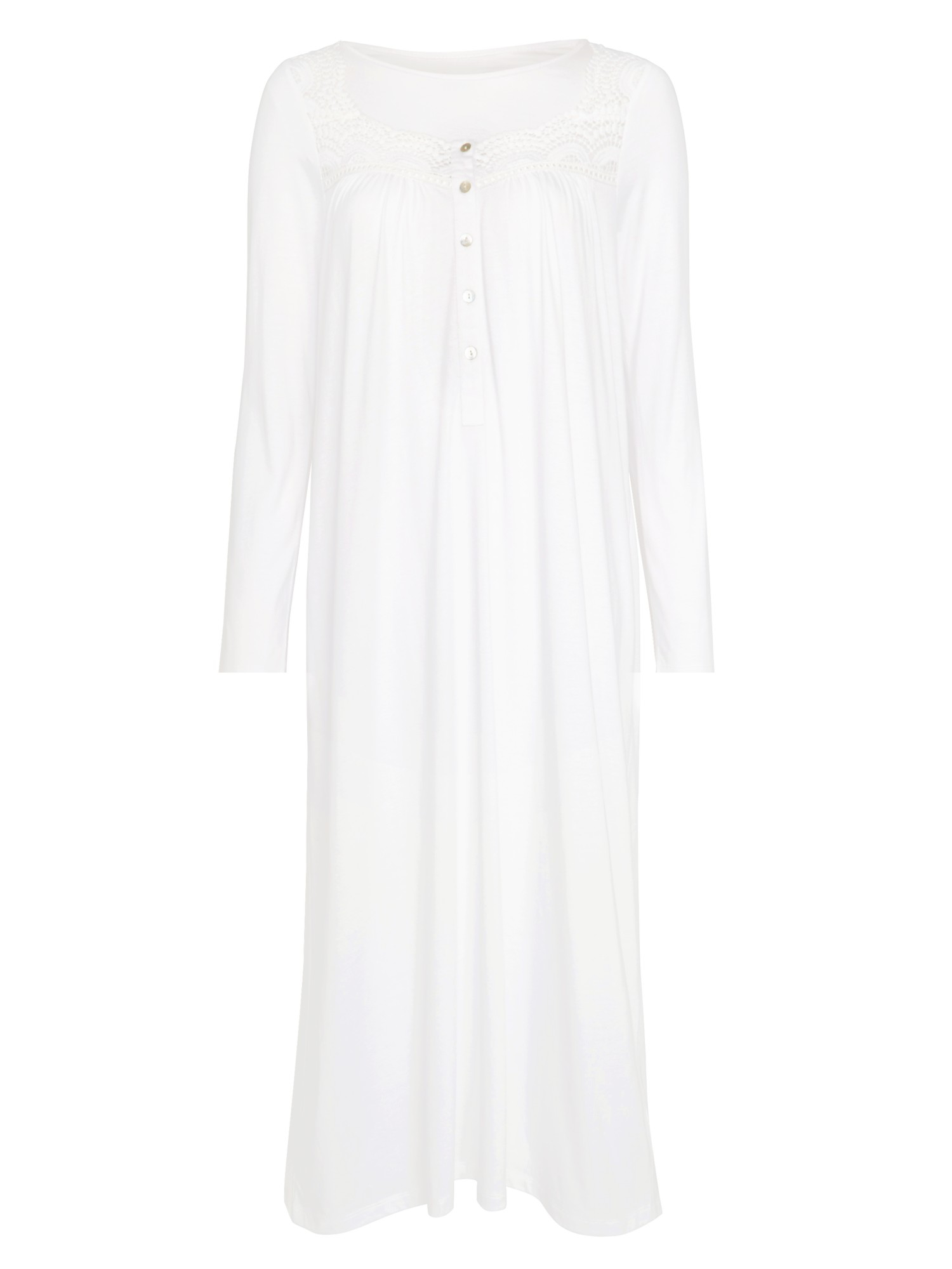 4b4ec34621 John Lewis Lace Trim Long Sleeve Nightdress in White - Lyst