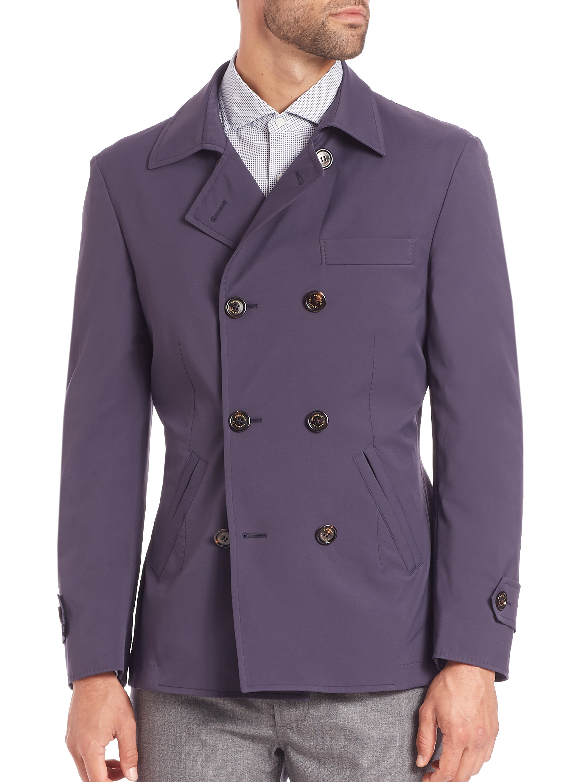 Brunello cucinelli Macintosh Double-breasted Jacket in Purple for ...