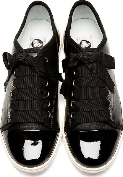 lanvin leather ribbon laces sneakers in black