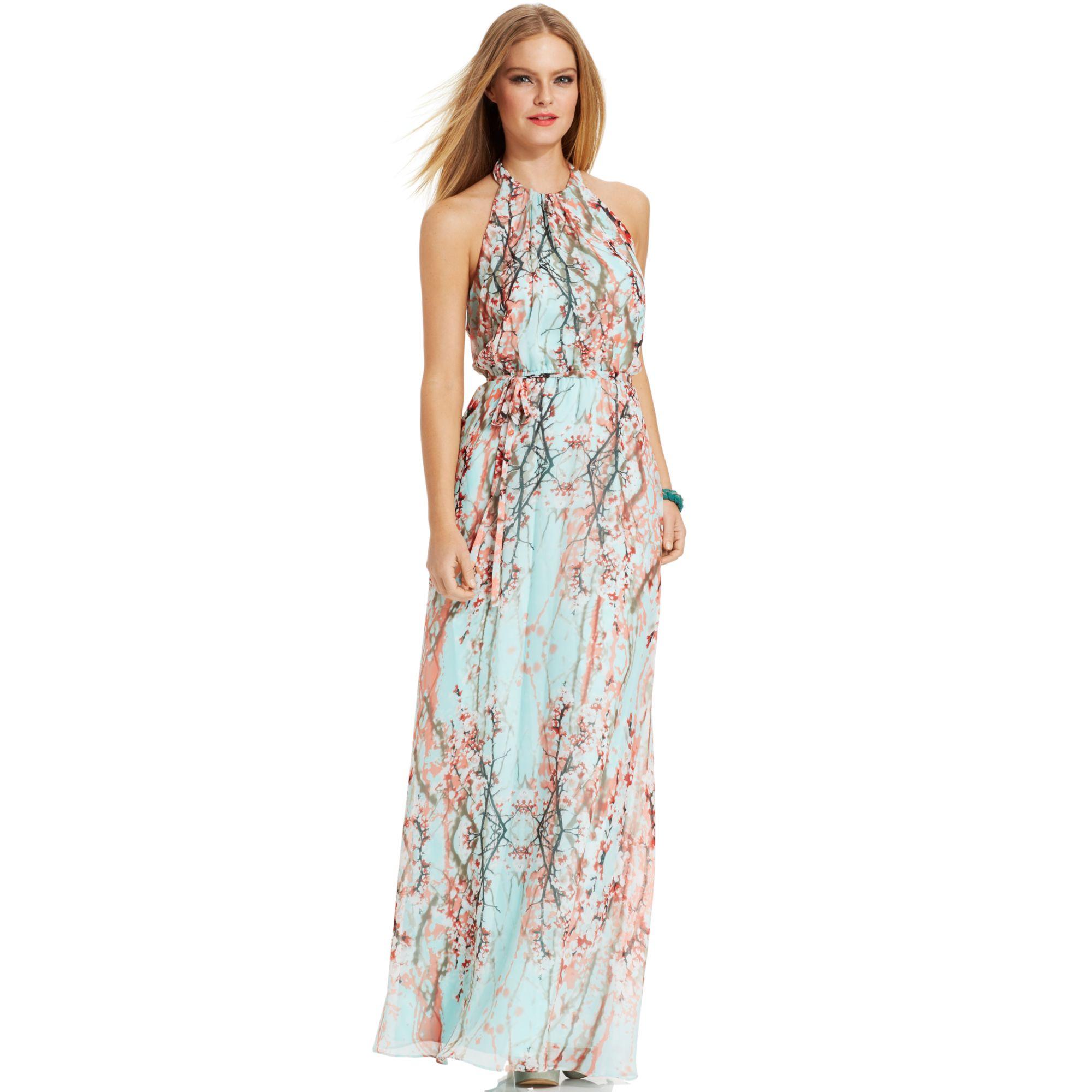 Jessica simpson Floralprint Halter Maxi Dress | Lyst
