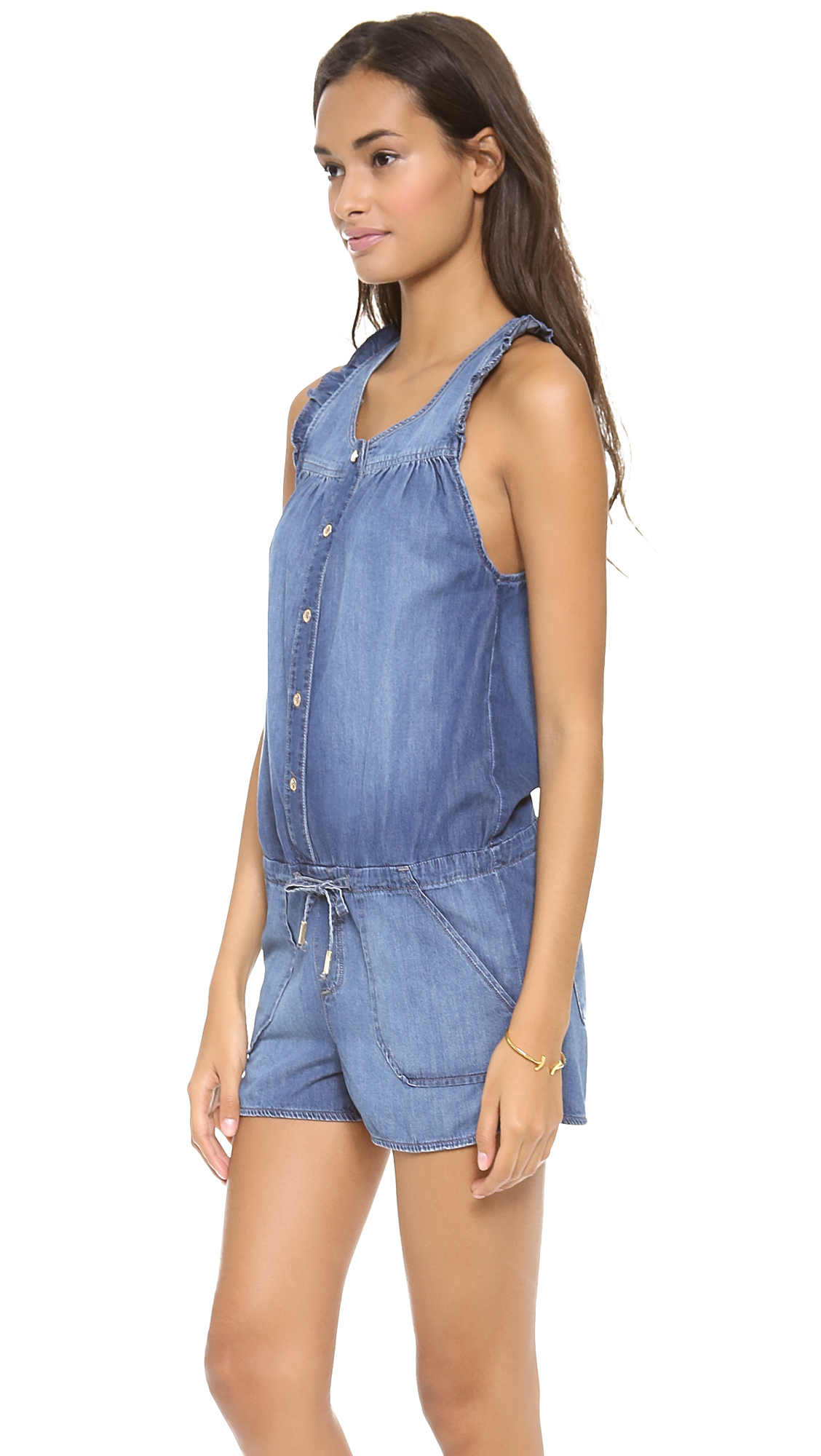 Juicy couture denim romper medium vintage wash in blue for Couture garments