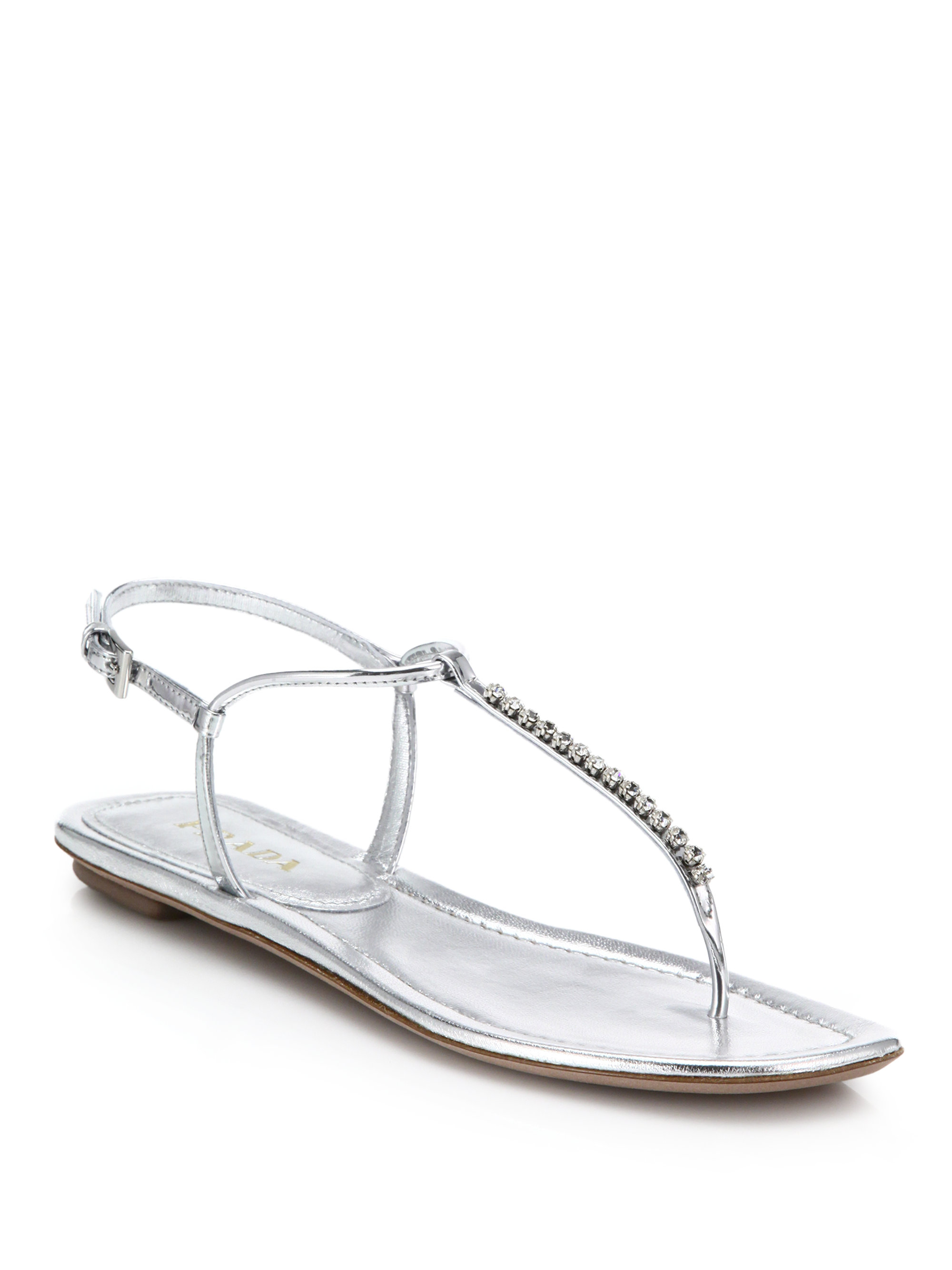 8439564b5a4 Lyst - Prada Swarovski Crystal Flat Metallic Leather Sandals in Metallic