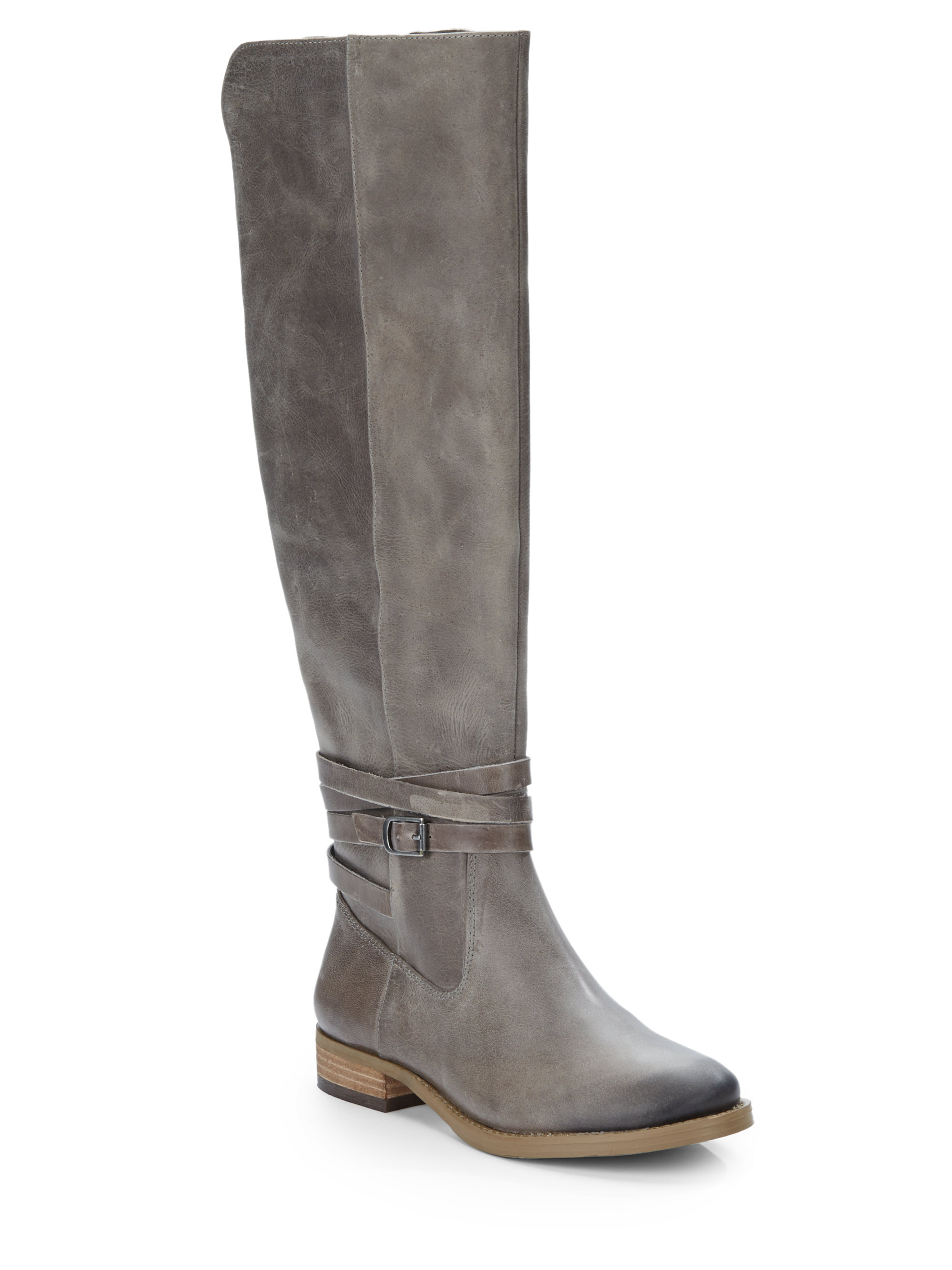 saks fifth avenue leather kneehigh boots in gray lyst
