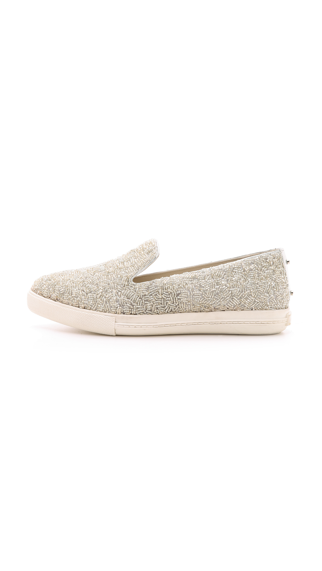 Alice olivia Rory Beaded Sneakers Silver in Metallic