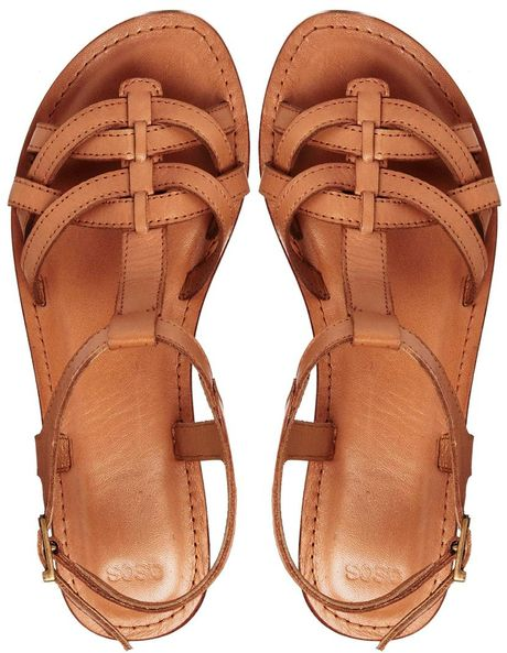 cea2b6174b16 Asos Flightplan Leather Flat Sandals in Brown (Tan)