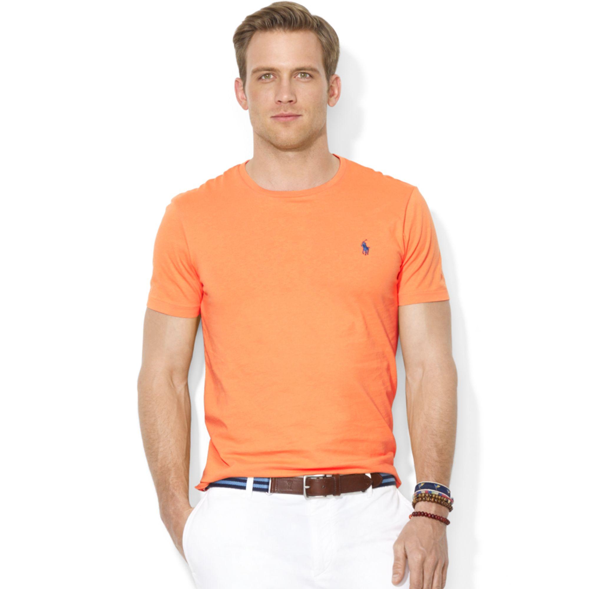 da10ea0d Ralph Lauren Custom Fit Cotton Jersey Crew Neck T-Shirt in Orange ...