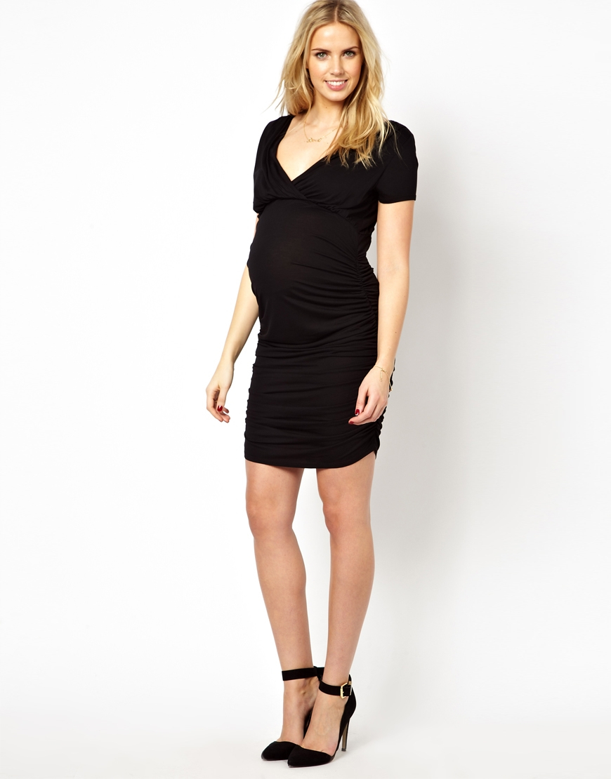 French Connection Maternity Ruched Bodycon V Neck Dress In