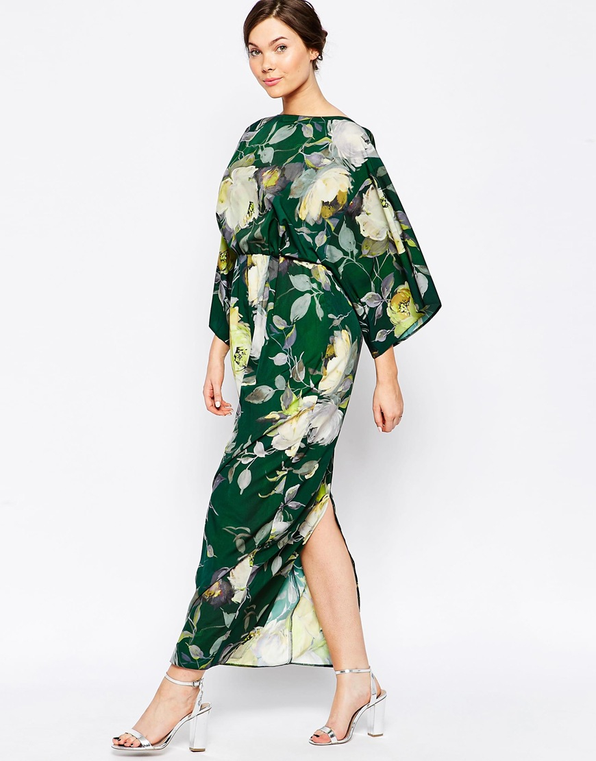 Asos Maxi Dress In 70\'s Floral in Green | Lyst