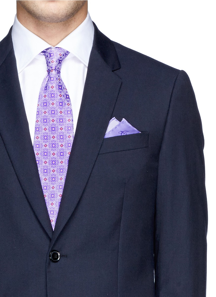 canali floral tie and pocket square set in purple for