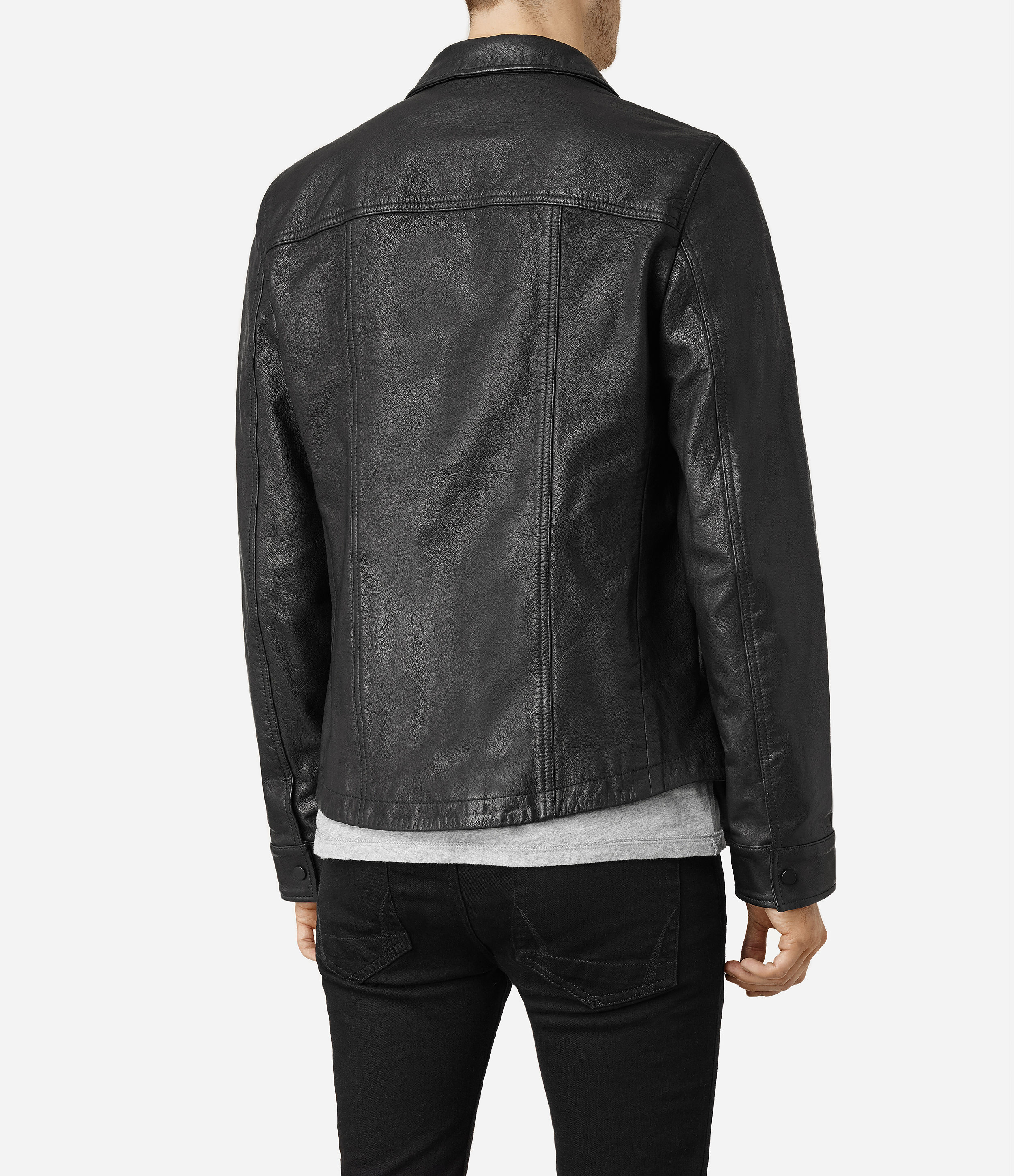 2372bffc858ae AllSaints Moore Leather Shirt in Black for Men - Lyst