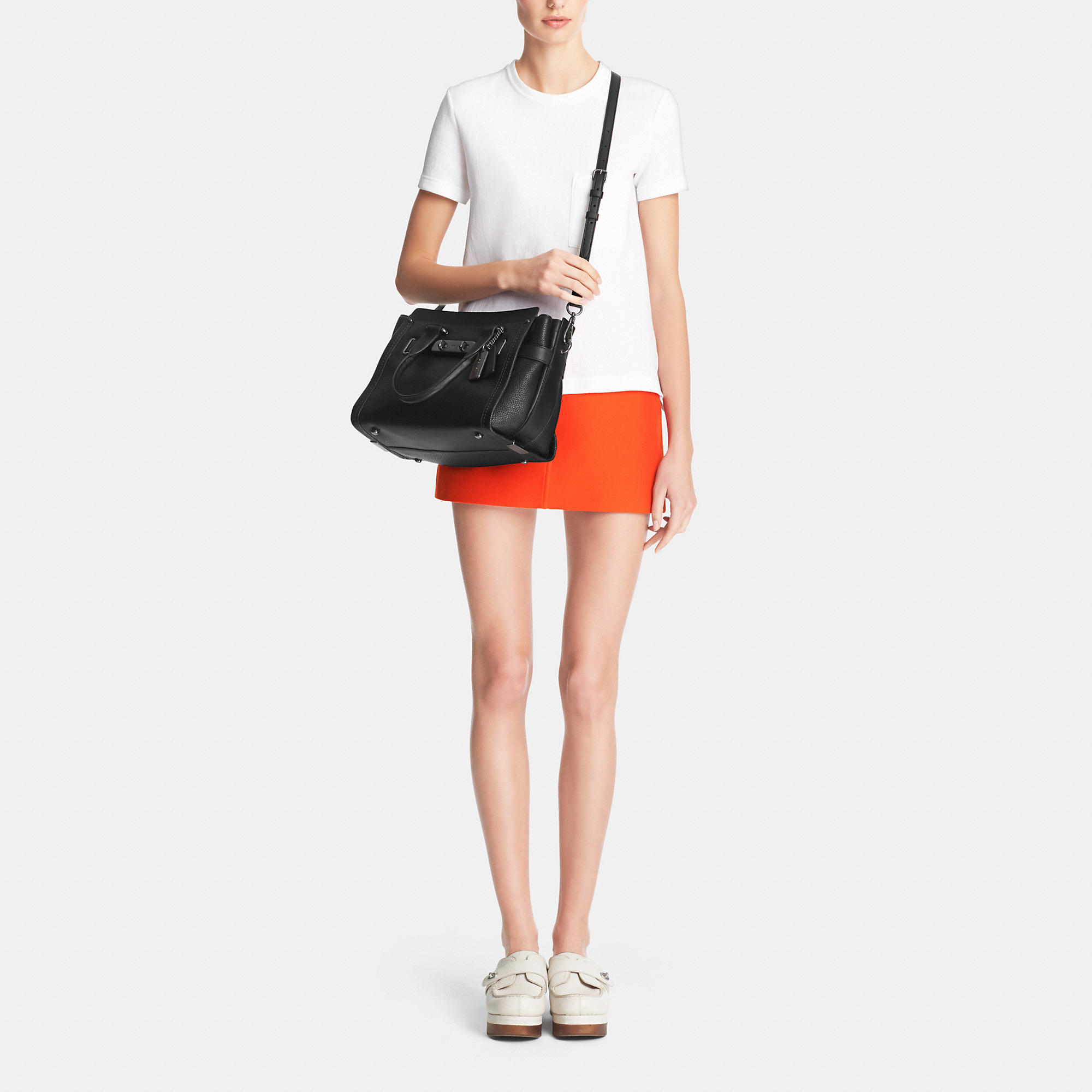 Lyst - COACH Swagger In Pebble Leather in Black 2557f3272c