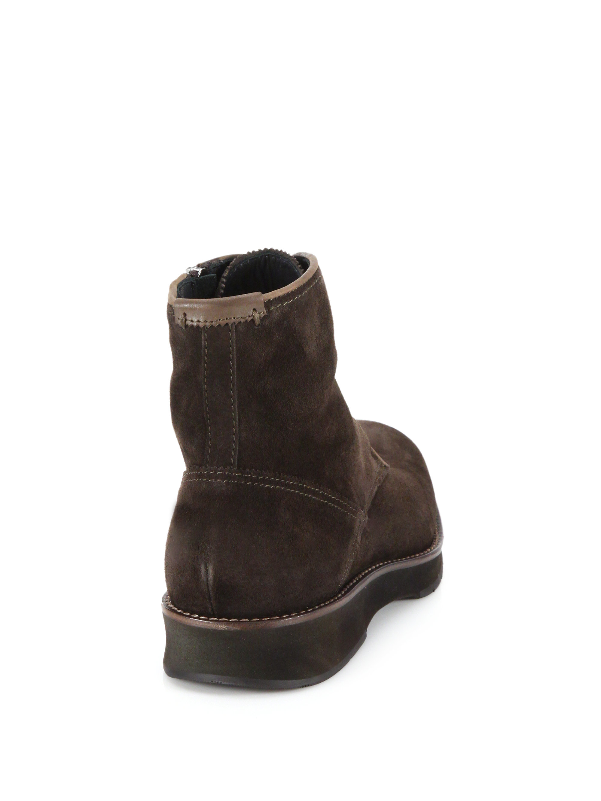 aquatalia gale waxed suede lace up boots in brown for