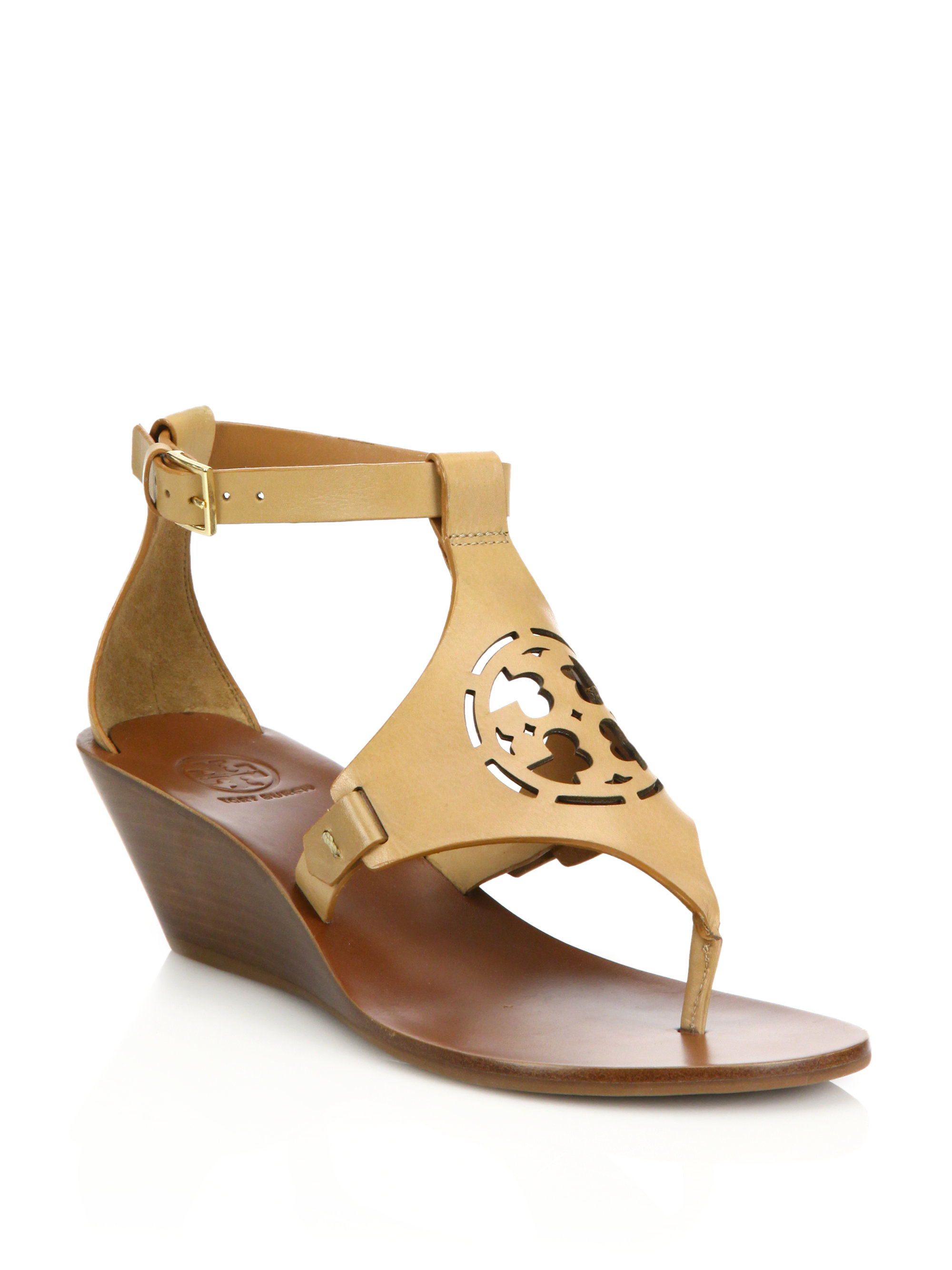 Lyst Tory Burch Zoey Leather Logo Wedge Sandal In Brown