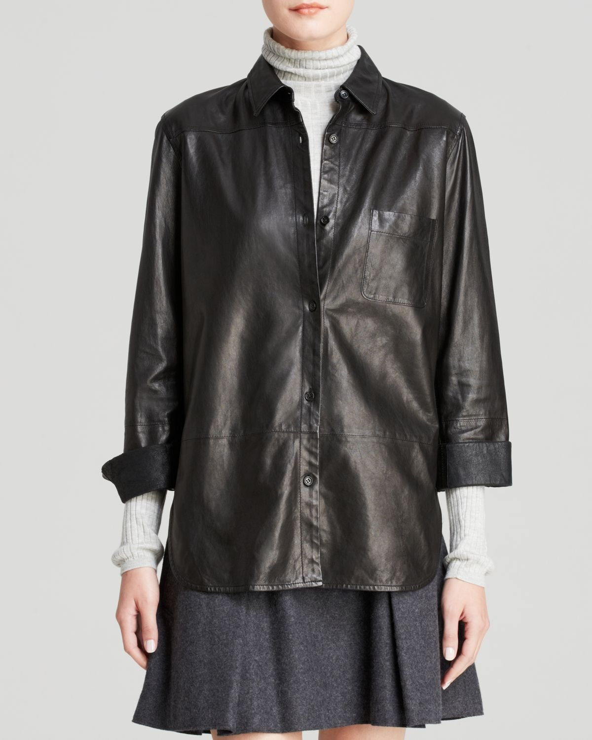 vince shirt leather button down in black lyst
