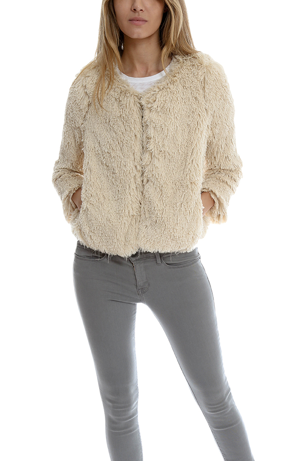 Mother The Boxy Faux Fur Jacket in Natural