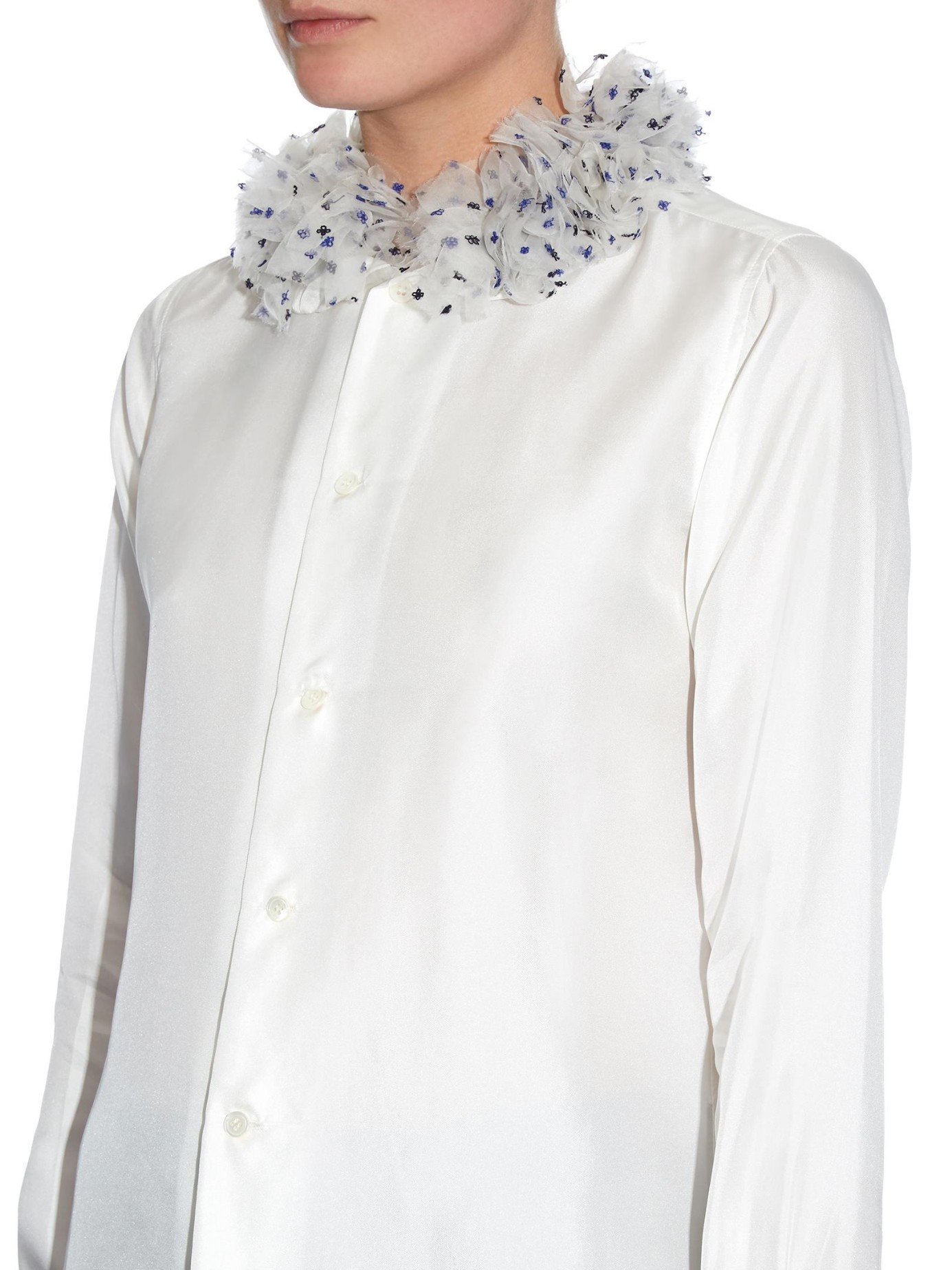 jupe by jackie buskila ruffled detail silk blouse in white lyst