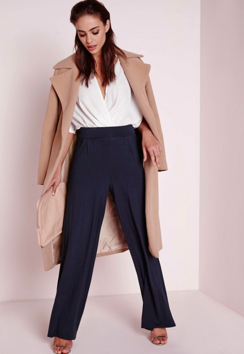 Wide Leg Navy Pants
