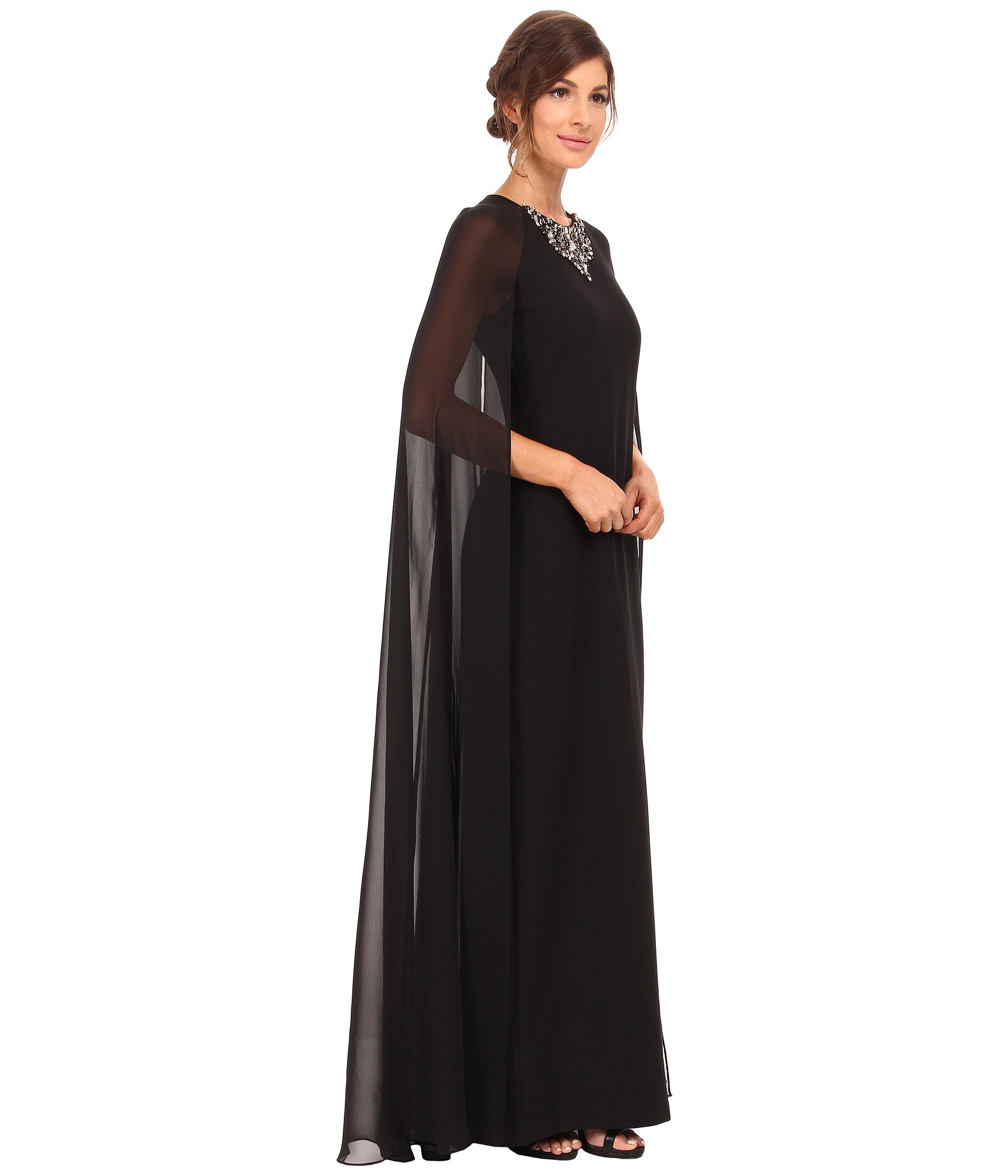 Vince Camuto Fitted Crepe Gown W Chiffon Cape In Black Lyst