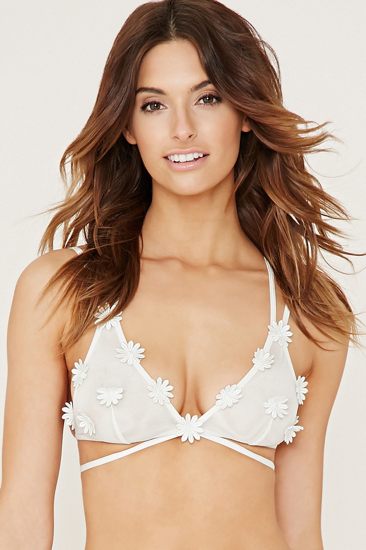 Lyst forever 21 sheer mesh daisy bralette in white for Mesh shirt with bralette
