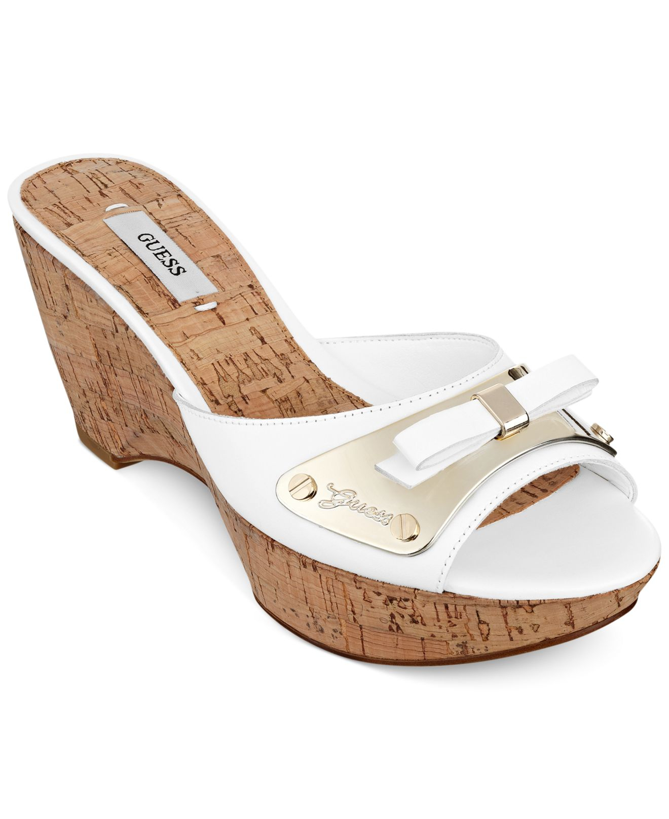74450b82cd2bf6 Lyst - Guess Women S Rea Platform Slide Sandals in White