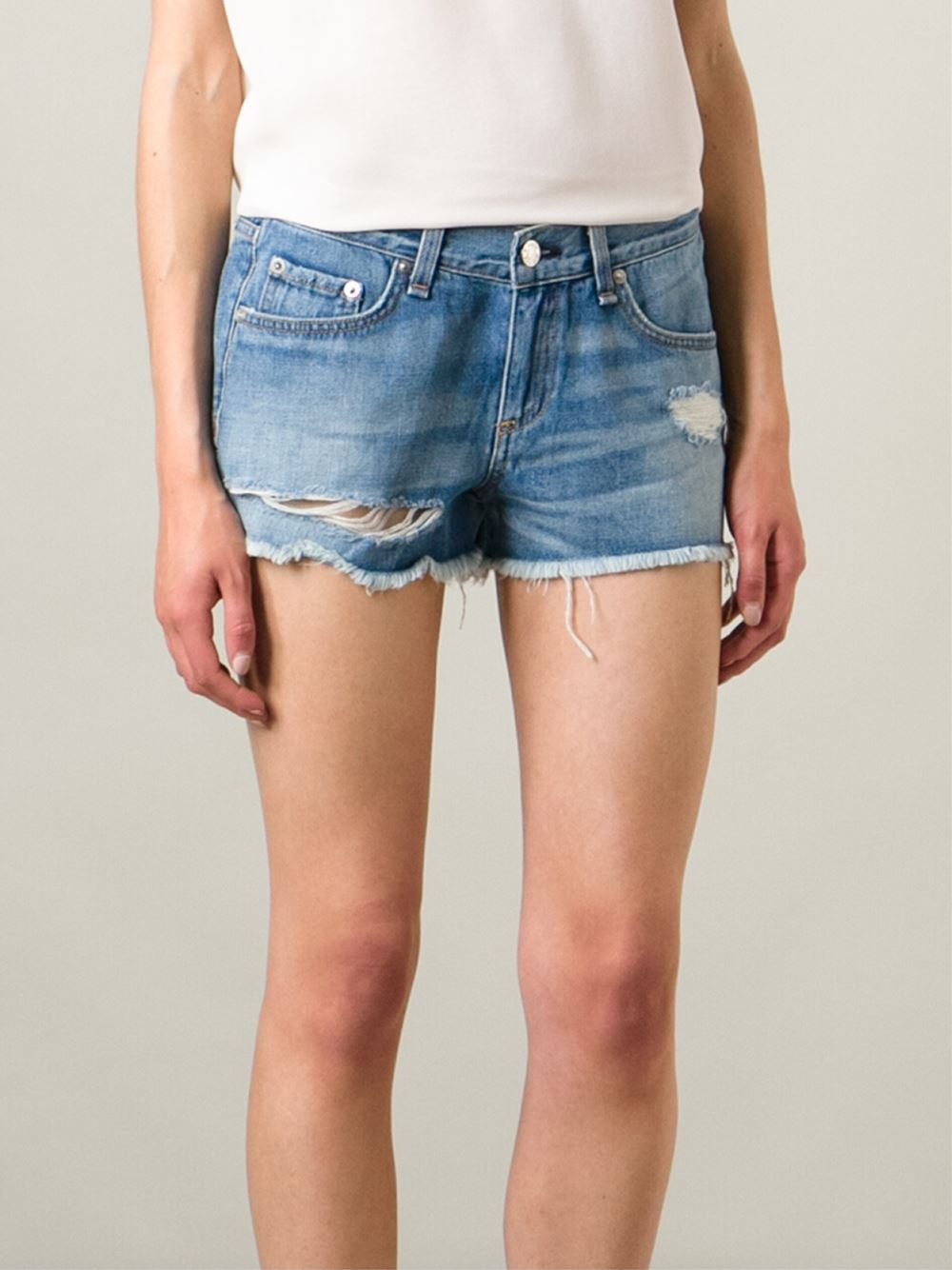 Rag Amp Bone Cut Off Ripped Denim Shorts In Blue Lyst