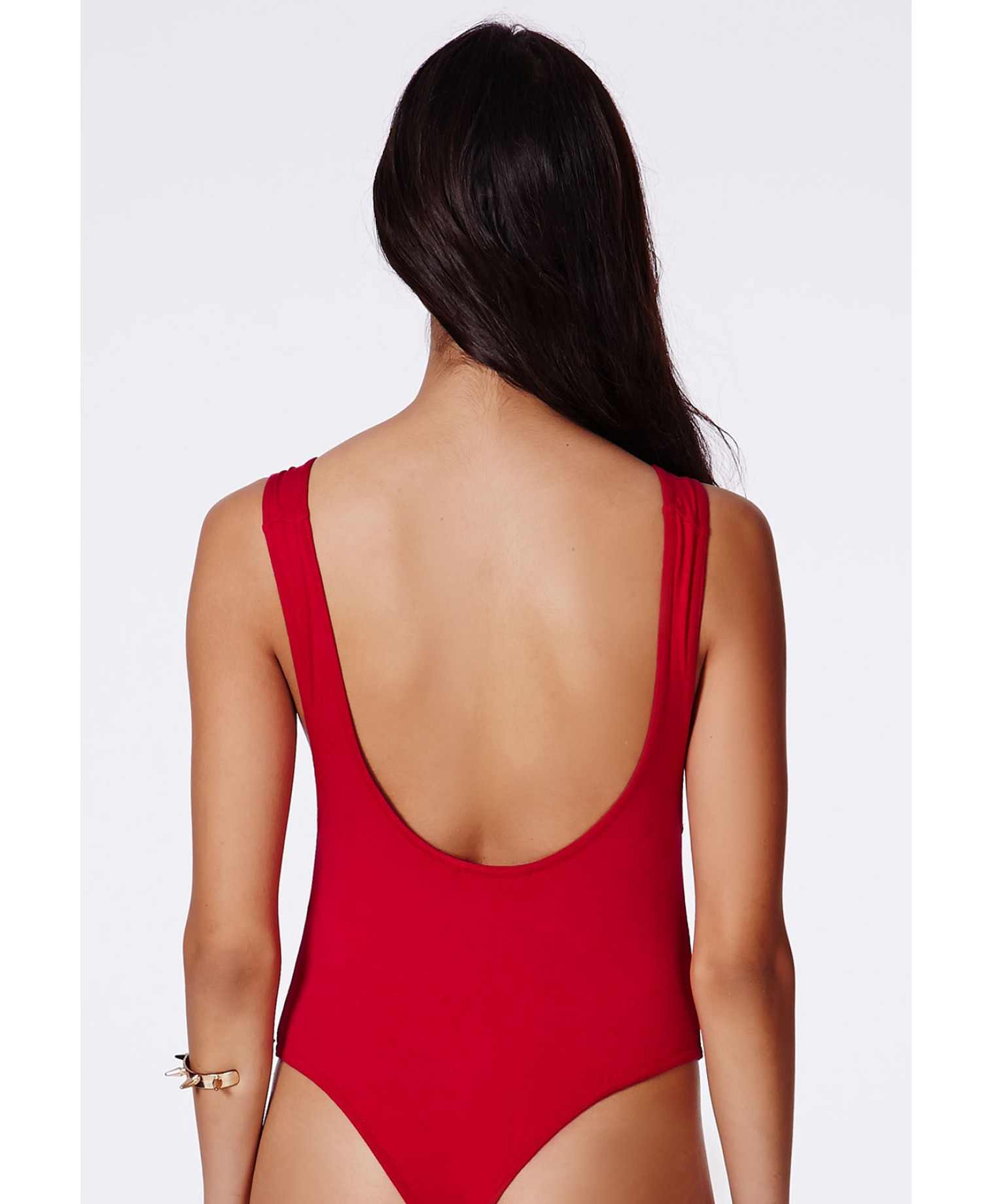e422b9b9b66a Missguided Ryska Lifeguard Backless Thong Bodysuit Campaign in Red ...
