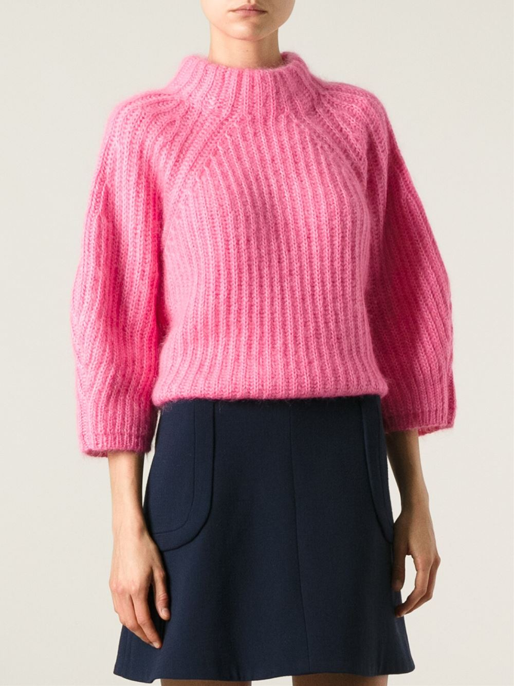 Fendi Boxy Ribbed Sweater in Pink | Lyst