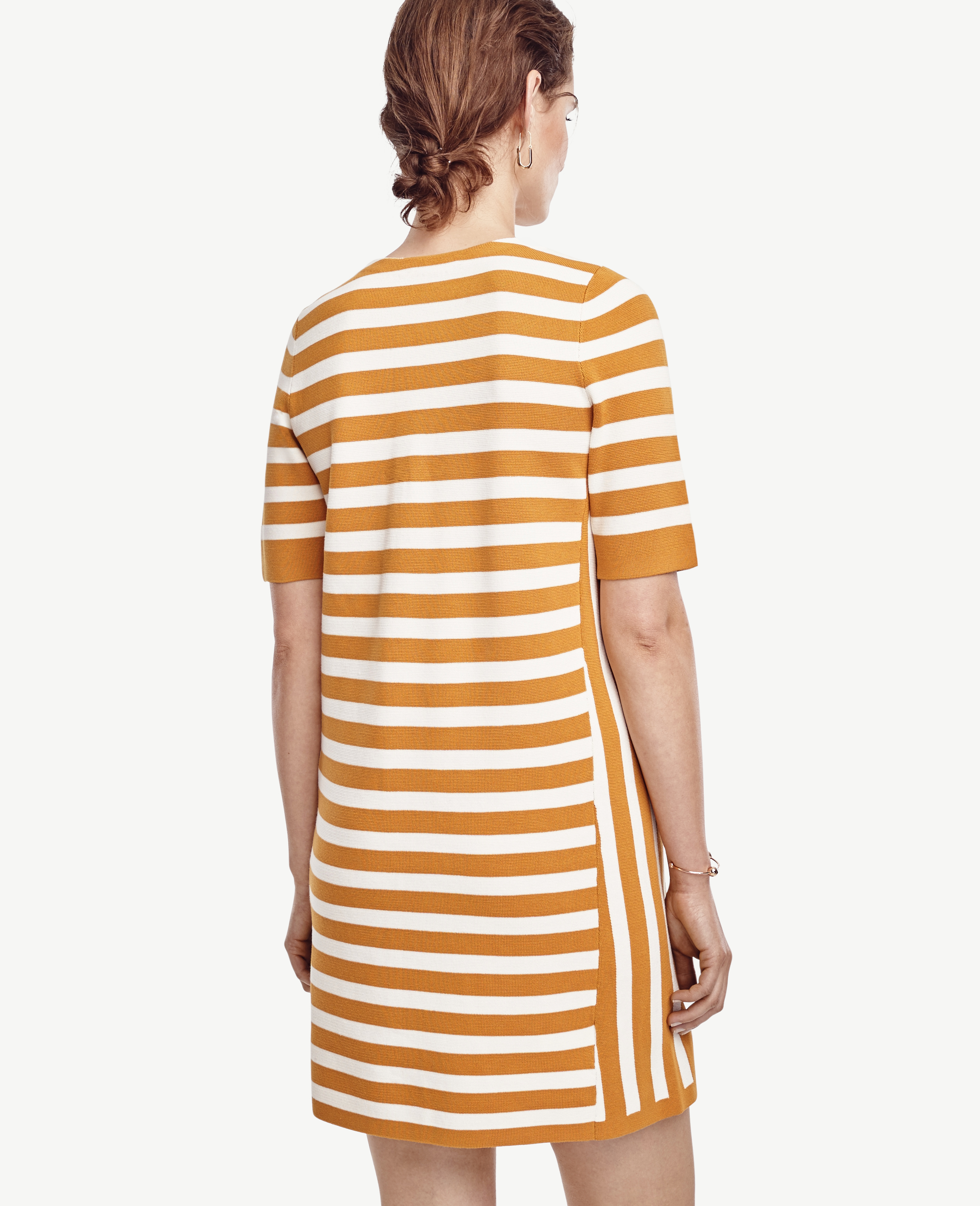 Ann taylor Tall Striped Short Sleeve Sweater Dress in Orange | Lyst