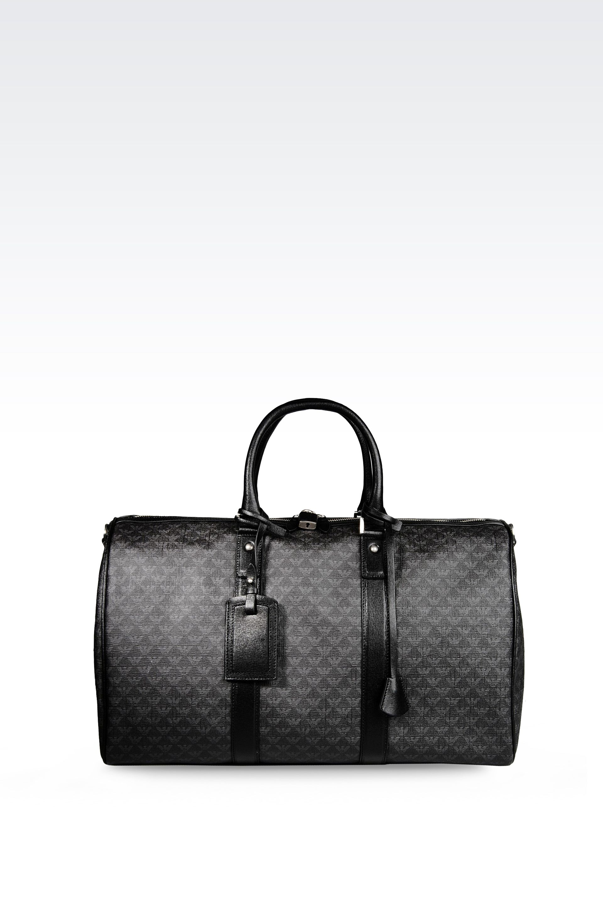 a87b9a586a11 Lyst - Emporio Armani Briefcase In Logo Patterned Pvc in Black for Men