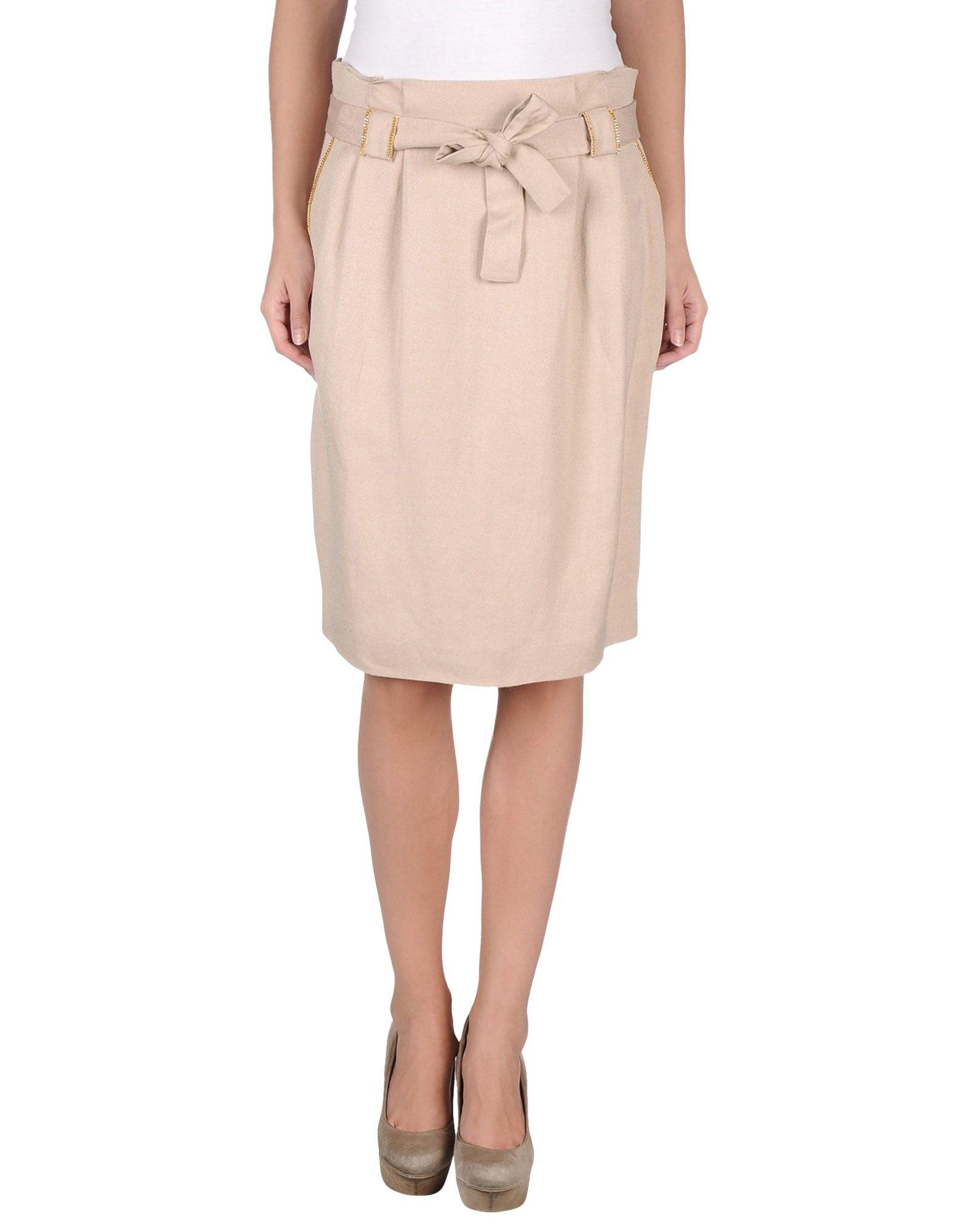 molinari knee length skirt in beige sand lyst