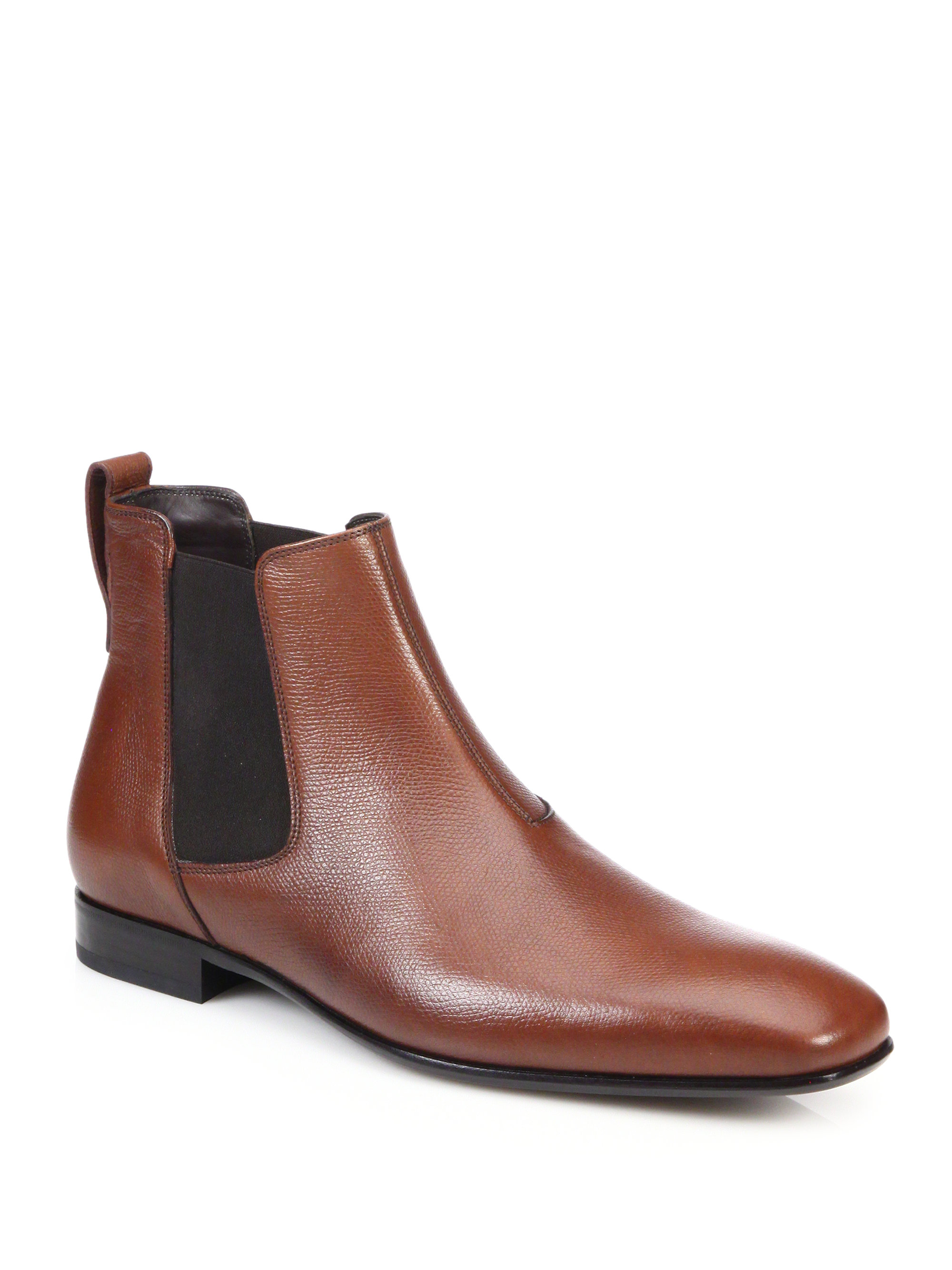 ferragamo maestrale leather chelsea boots in brown for