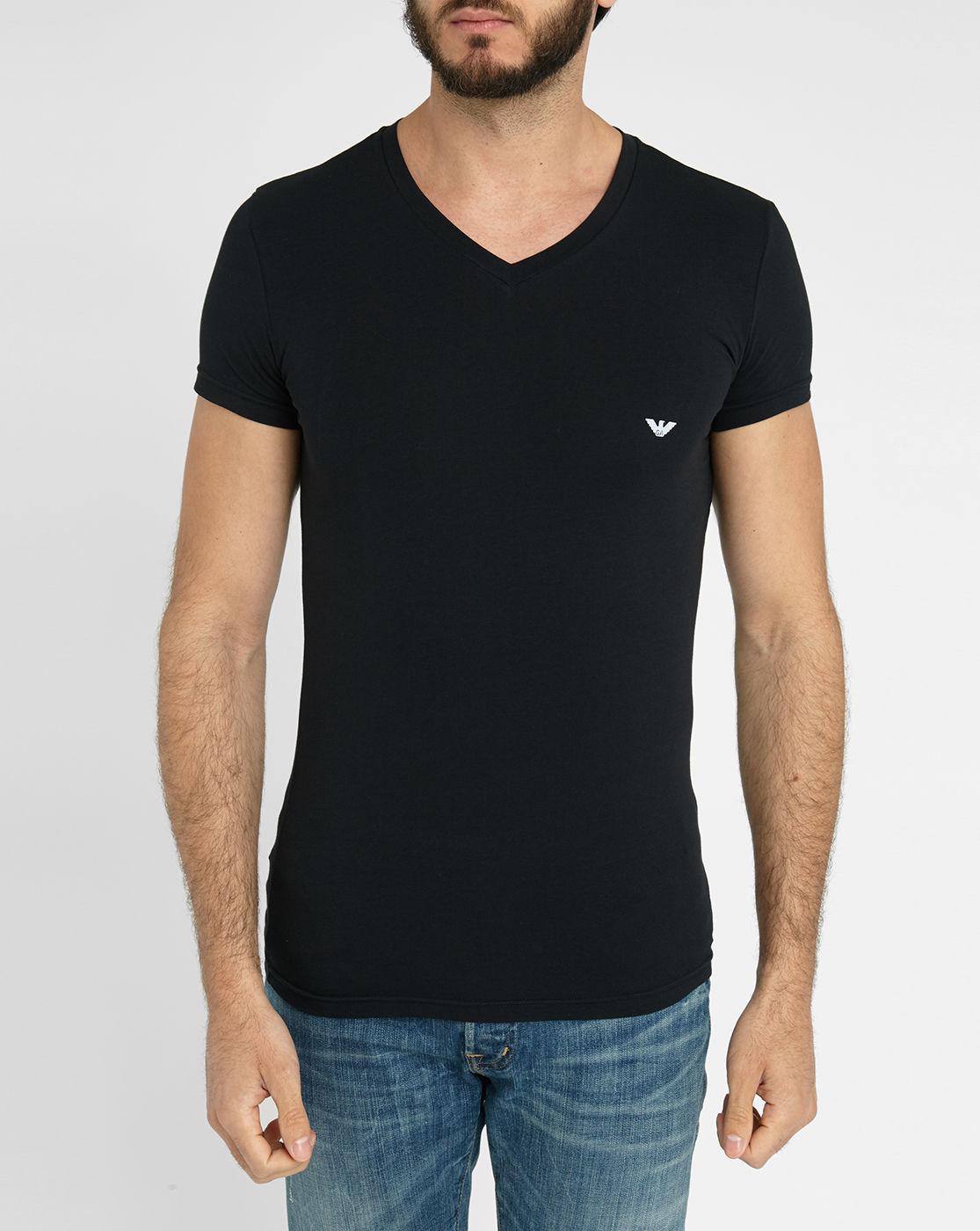 Emporio Armani Black Short Sleeve V Neck Logo T Shirt In
