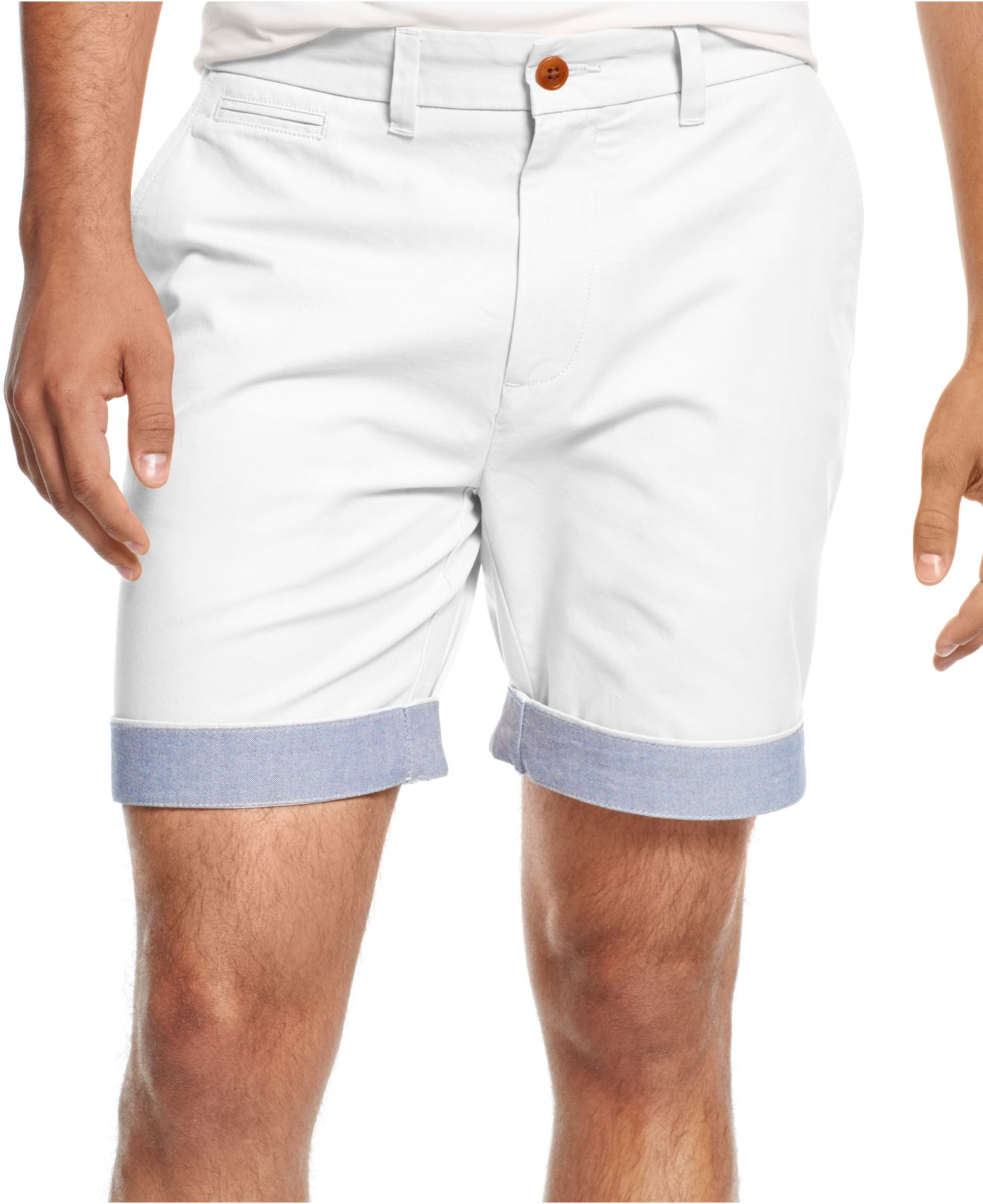 Tommy hilfiger Custom-fit Chino Shorts in White for Men | Lyst
