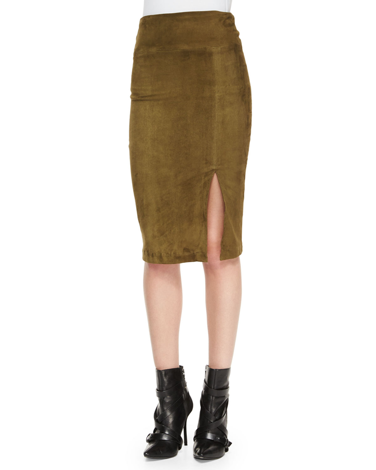 Alice   olivia Tani Suede Pencil Skirt in Green | Lyst