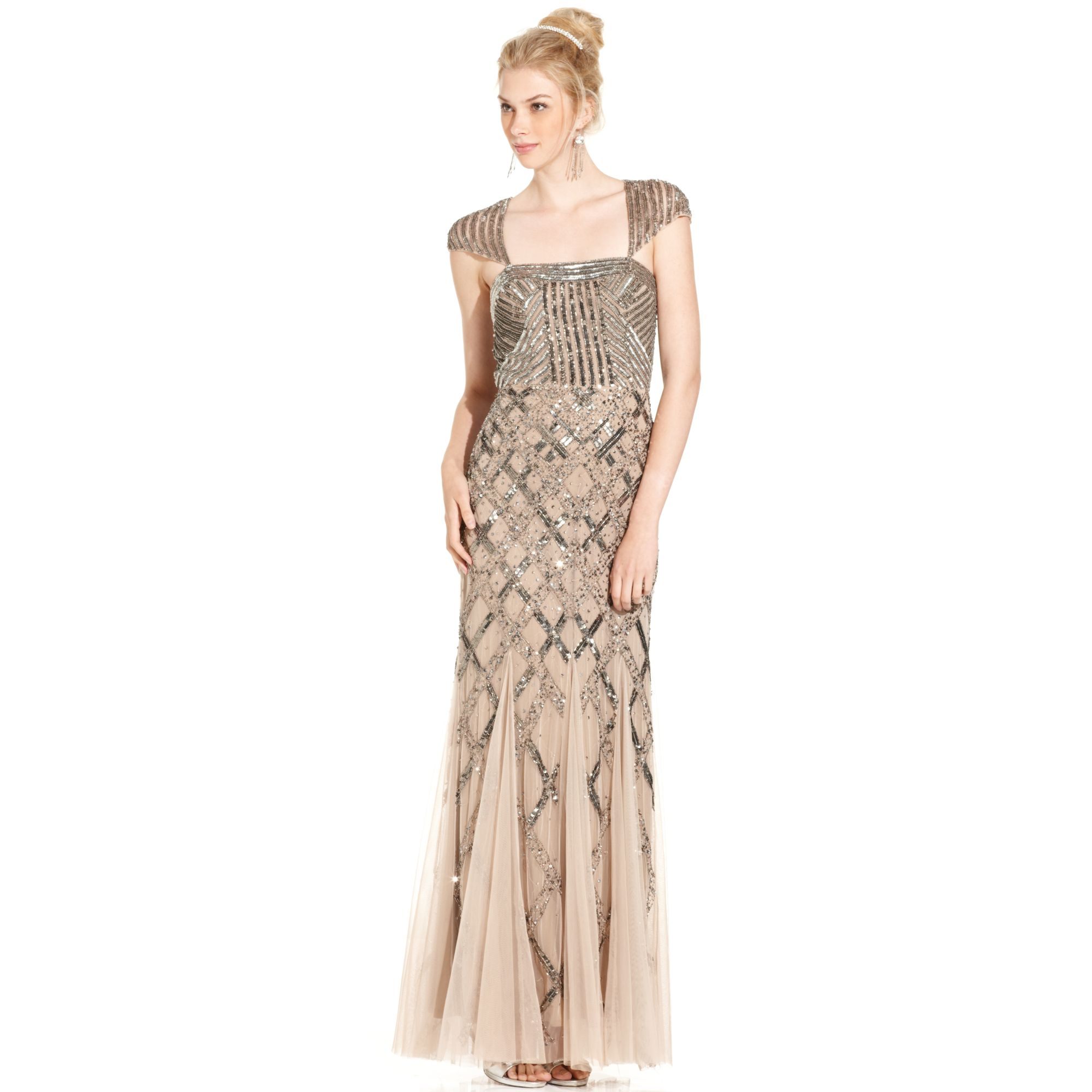 Adrianna Papell Cap Sleeve Sequined Gown In Beige Nude