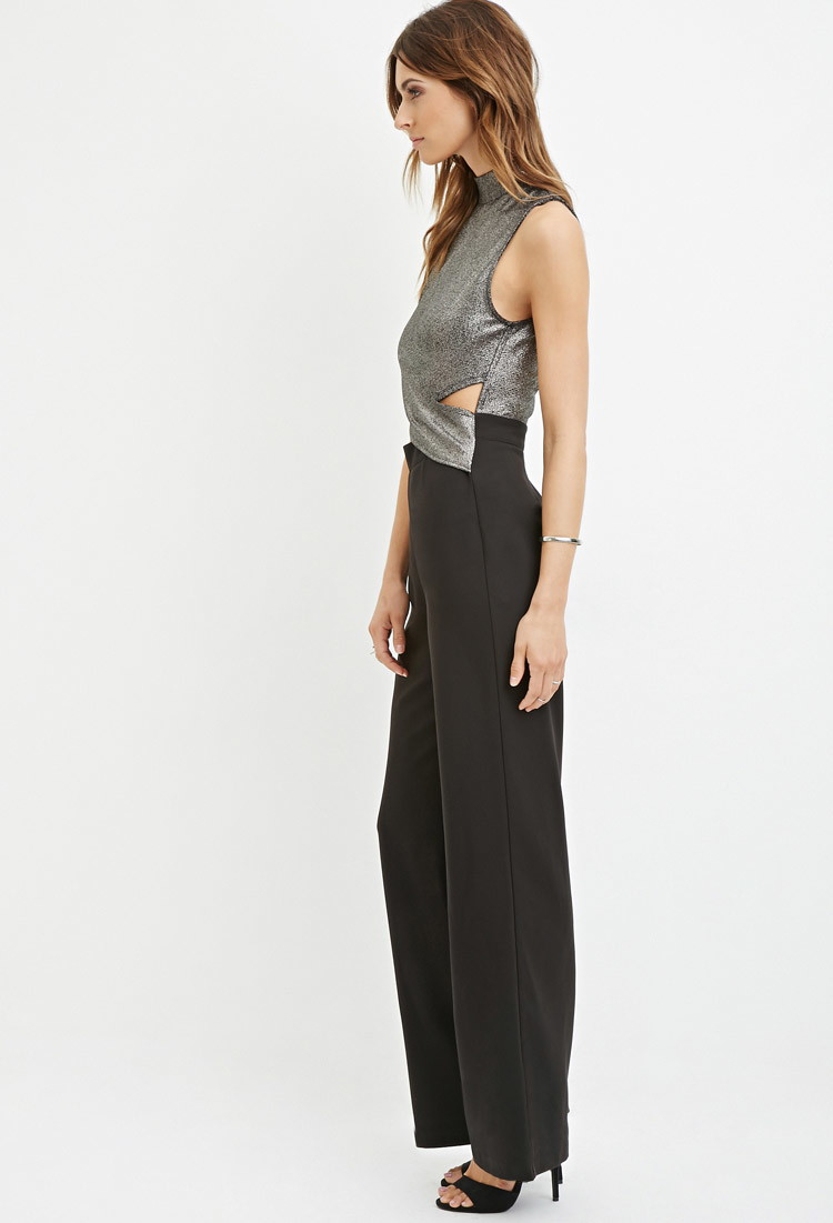 0f606867d11 Lyst - Forever 21 Contemporary Metallic Cutout Jumpsuit in Metallic