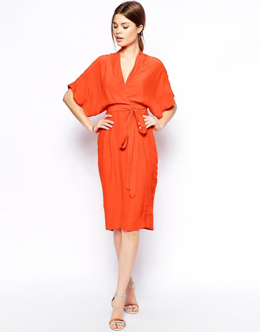 Asos Pencil Dress With Kimono Wrap in Orange | Lyst