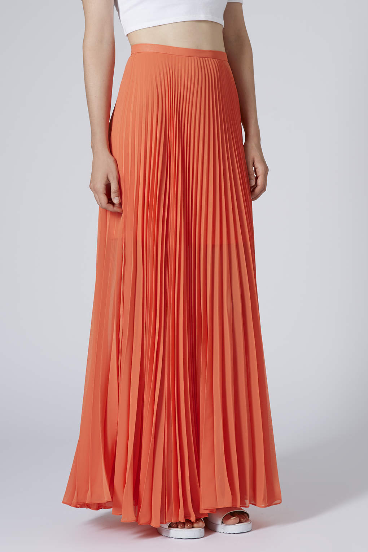 Topshop Full Pleat Maxi Skirt in Orange | Lyst