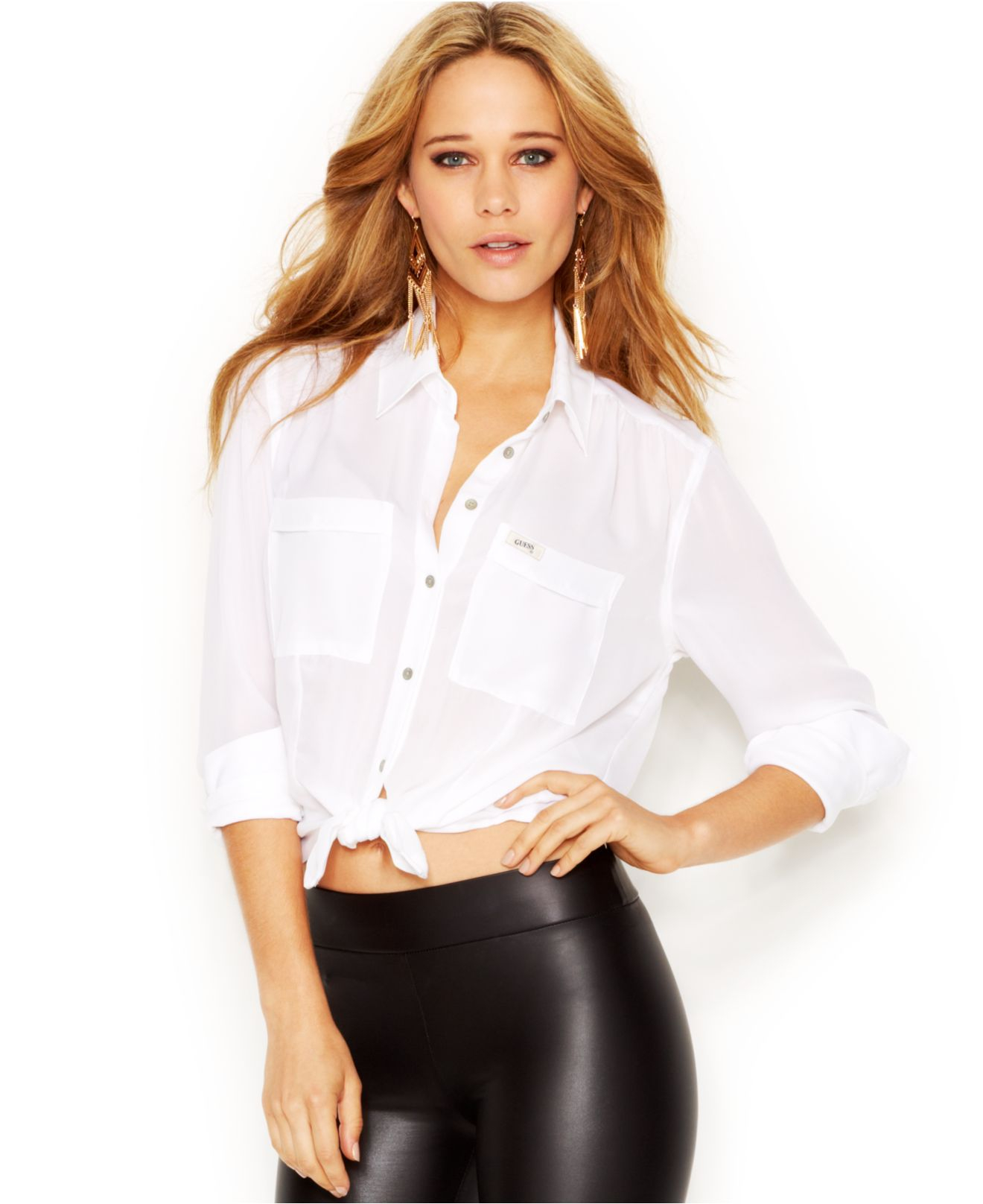 Lyst - Guess Long-sleeve Point-collar Cropped Blouse in White