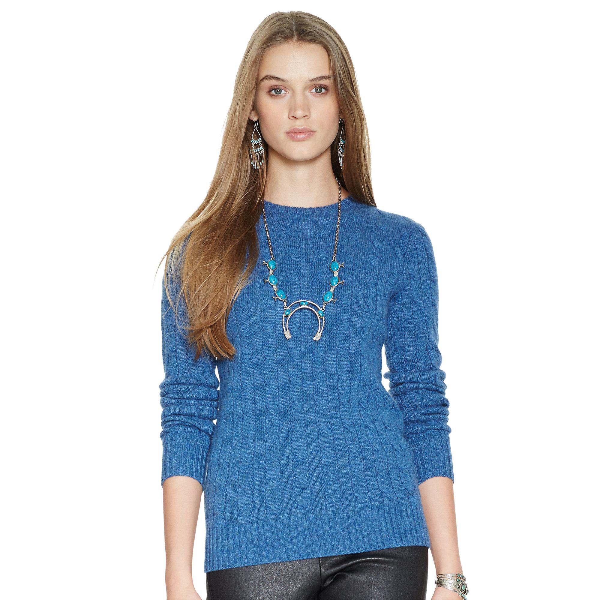 lyst polo ralph lauren slim fit cabled cashmere in blue. Black Bedroom Furniture Sets. Home Design Ideas