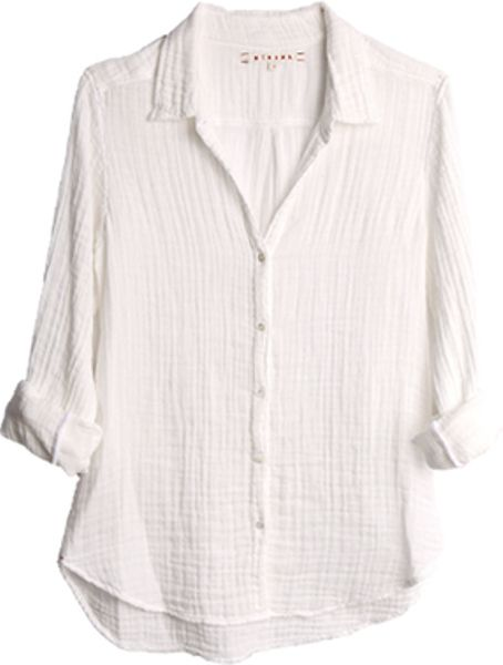 xirena britt gauze button down shirt in white lyst