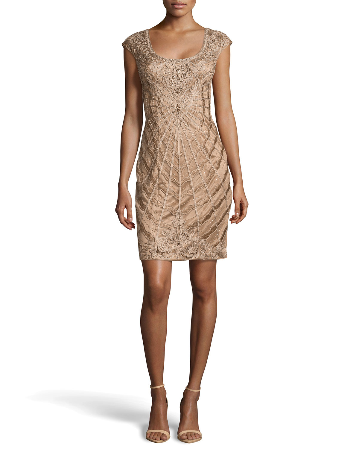sue wong ribbon bead embellished cocktail dress in gold
