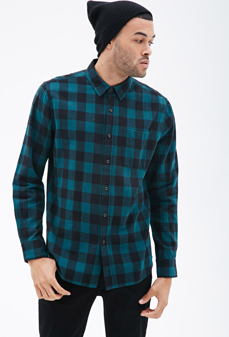 Lyst forever 21 buffalo check flannel shirt in blue for men for Buffalo check flannel shirt