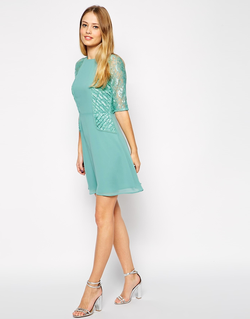 83c29fc54d4f ASOS Tall Mini Skater Dress With Lace Panels in Green - Lyst