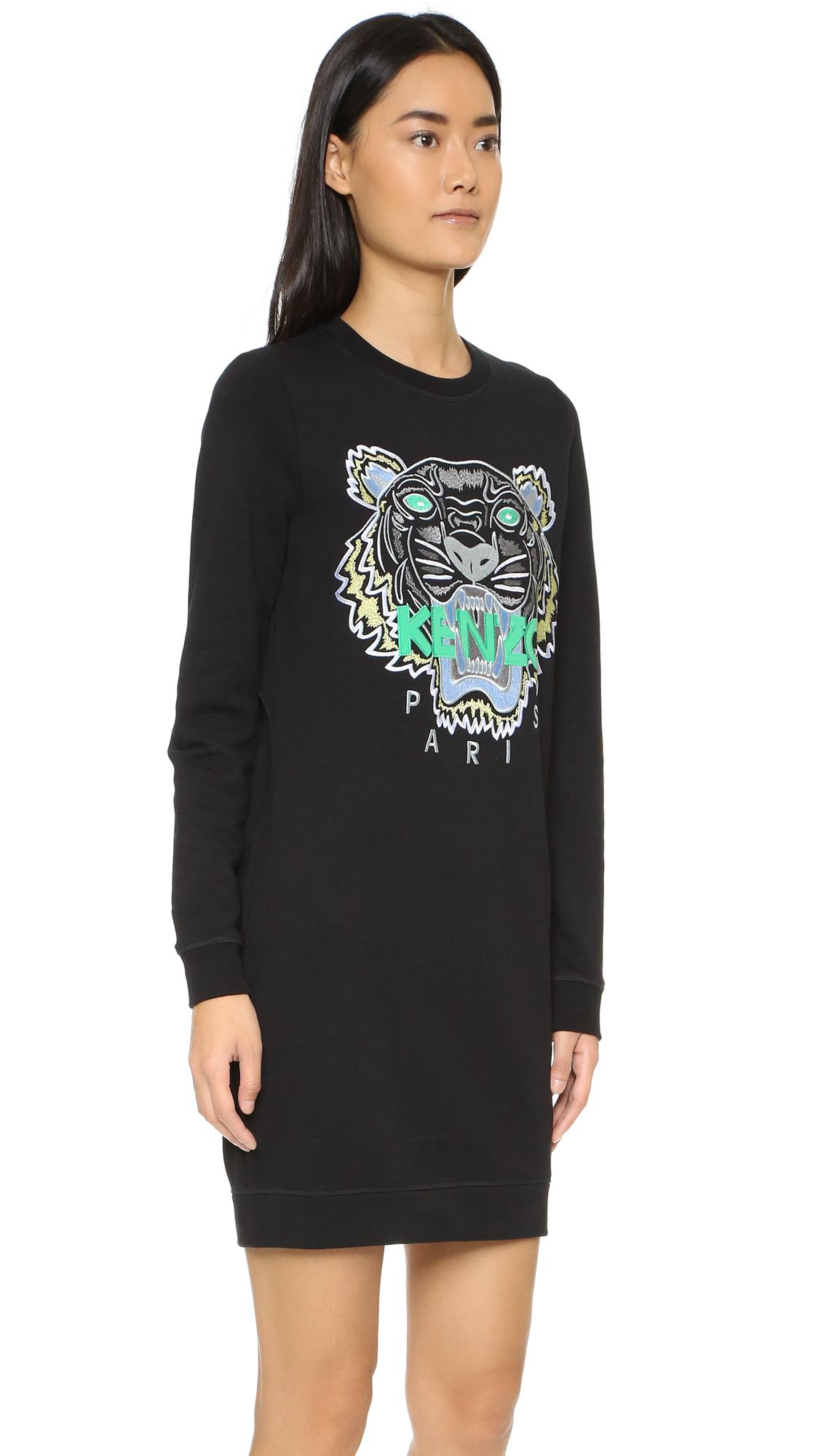 Kenzo Tiger Sweater Dress In Black Lyst