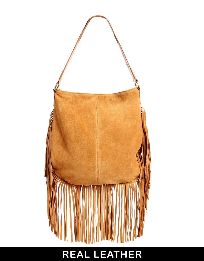 Lyst - ASOS Suede Fringe Shoulder Bag in Brown 41694163862bd