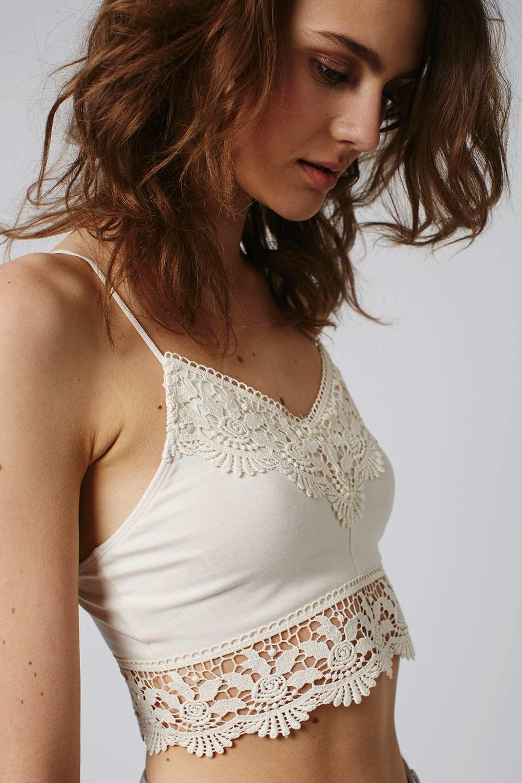 a1da0af3a9219 Lyst - TOPSHOP Petite Crochet Trim Bralet in White